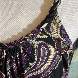 MSK purple paisley print dress with braided straps